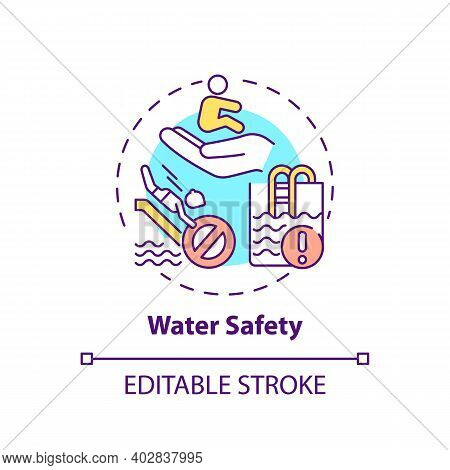 Water Safety Concept Icon. Drowning Prevention. Children Rescue. Caution For Danger. Child Safety Id