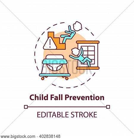 Child Fall Prevention Concept Icon. Kid Trauma And Injury Precaution. Children Protection. Child Saf