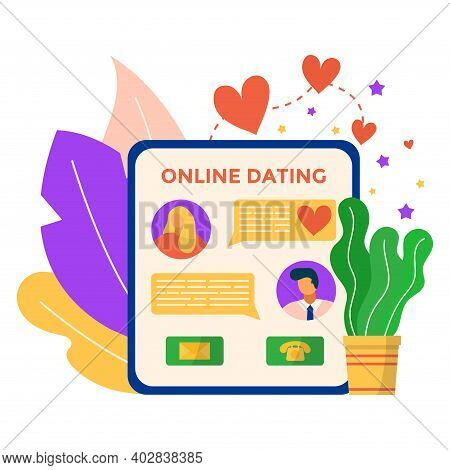 Online Dating Mobile Phone Application, Remote Internet Smartphone App For Lover Meeting Flat Vector