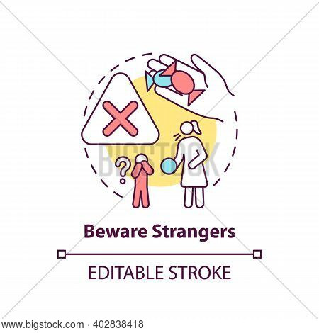Beware Strangers Concept Icon. Dangerous Unknown Person. Teach Kid Cautious Behavior. Child Safety I