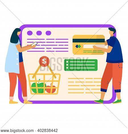 Online Food Shopping Mobile Phone Application, Remote Internet Smartphone App For Buy Foodstuff Flat