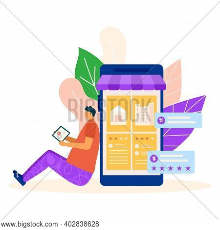 Smartphone Application Assessment Rent Apartment, Tiny Character Male Sitting Buy Realty Flat Vector