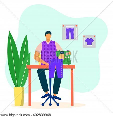 Professional Male Character Tailor Sew Pants, Man Sitting Table With Sewing Machine Flat Vector Illu