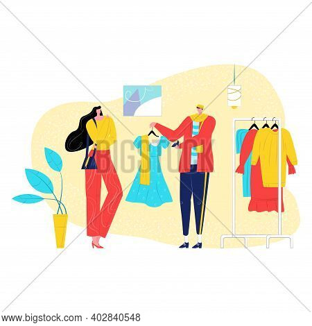 Friend Woman And Man Together Purchase Fashion Clothing Dress, Stylist Help Female Character Flat Ve