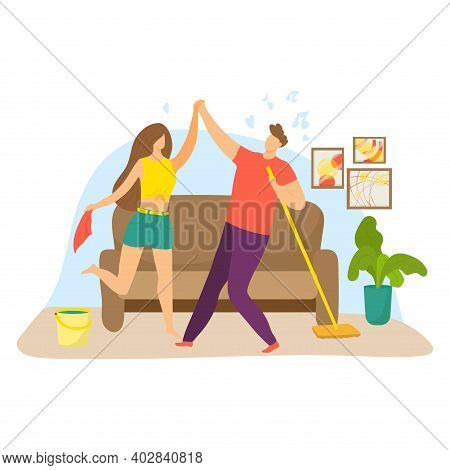 Cheerful Lovely Couple Joyfully Cleaning Apartment Room, Woman Hold Wet Cloth And Man Carry Mop Cart