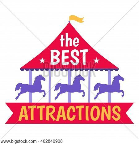 Best Attractions Circus Amusement, Concept Horse Round Carousel, Icon Entertainment Carnival Flat Ve