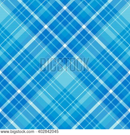 Seamless Pattern In Great Blue Colors For Plaid, Fabric, Textile, Clothes, Tablecloth And Other Thin
