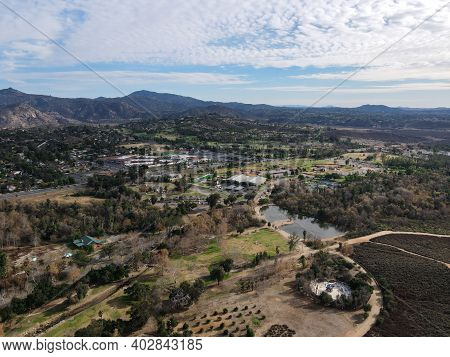 Aerial View Of The East Canyon Area Of Escondido With Mountain On The Background, San Diego, Califor