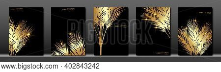 Set Of Tropical Palms Elegant Black And Gold Cover Template Layout Set With Palm Foliage Background,
