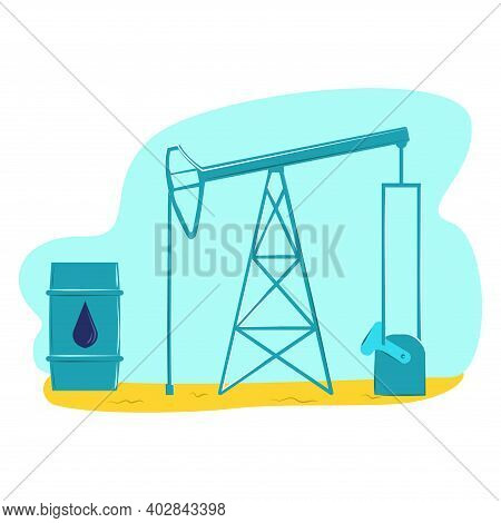 United Arab Emirates Oil Production, Technology Petroleum Production, Arabic Production Flat Vector