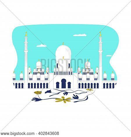 Modern Futuristic Urban Landscape, Beautiful Arab Building Cathedral Mosque, Brick Masjid Flat Vecto