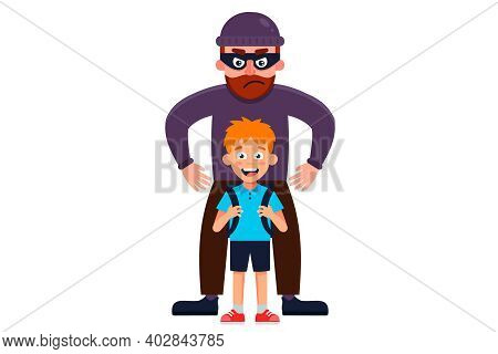 A Man In A Mask Kidnaps A Little Boy. Flat Vector Character Illustration.