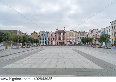 Puck, Poland - September 20, 2020: Market Square In Puck At Cloudy Day.