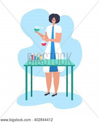 Woman Character Research Fellow Hold Laboratory Flask, Chemical Liquid Research Activity Flat Vector