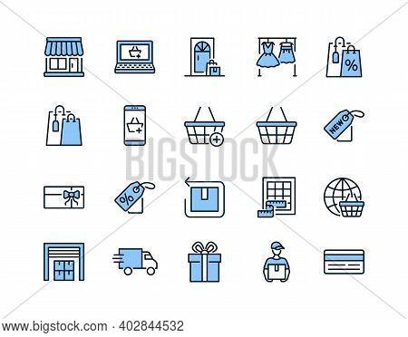 Online Store Flat Line Icon Set Blue Color. Vector Illustration Included Symbols. Online Shopping, C