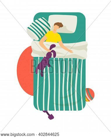 Relaxing Man Character Sleeping Comfortable Soft Bed, Young Teenager Hold Rabbit Toy Flat Vector Ill