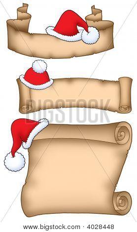 Various Santa Claus parchment - color illustration. poster