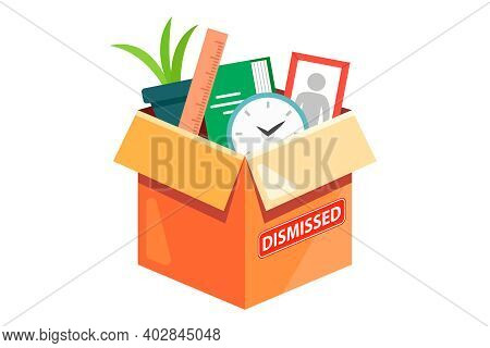 A Cardboard Box With The Belongings Of A Dismissed Employee. Flat Vector Illustration Isolated On Wh