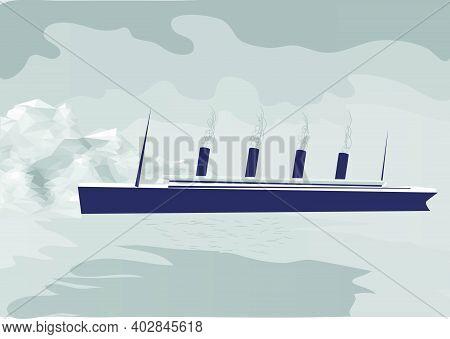 Titanic Abstract Vector Illustration. Ship Ans Iceberg