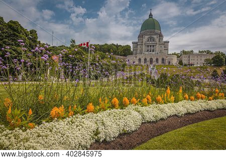 Saint Josephs Oratory Of Mount Royal With Its Beautiful Garden Located In Montreal, Quebec, Canada