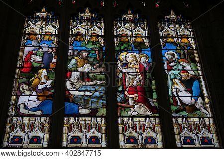 Stratford Upon Avon, Uk - April 30, 2018: Stained Glass Of The Holy Trinity Church (shakespeare's Bu
