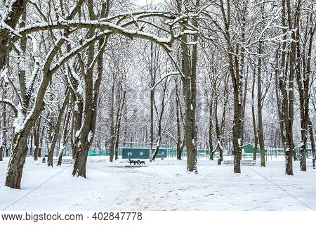 Vilnius, Lithuania - January 10, 2021: Bernardinai Garden In Winter Covered With White Snow. Sculptu