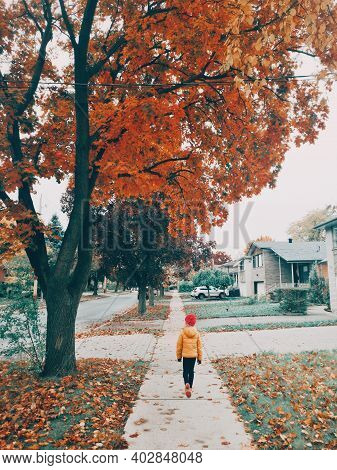 Cute Girl Child In Yellow Jacket And Pink Hat Walking Down The Street In Suburbs Outdoor. Kid Enjoyi
