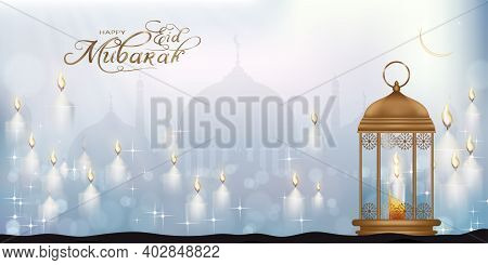 Eid Mubarak Card With Mosque Silhouette With Candle Light, Stars And Crescent Moon. Ramadan Or Ramaz