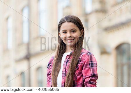 Beautiful Female. Happy Girl With Long Hair Smile Outdoors. Girlhood And Childhood. International Da
