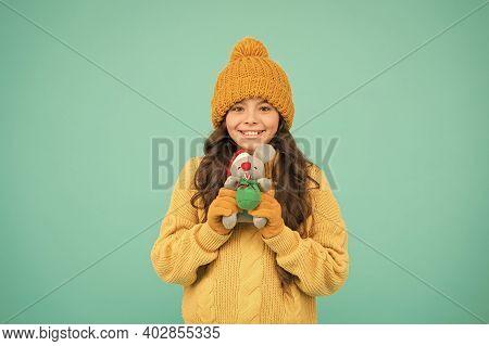 Chinese Horoscope Concept. Girl Child Hold Rat Or Mouse Toy. Rat Symbol Year. Plush Toy. 2020 Rat Ye