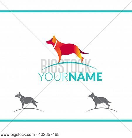 Dog Logo. Stylized Dog Sign, Emblem Or Logo Template. Made With Golden Ratio Principles.golden Ratio