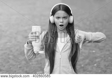 No Water No Life. Concerned Child Show Thumbs Down Hand Gesture. No Water Left In Bottle. Thirsty Gi