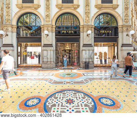 Milan, Italy - Circa September 2020: Fashion Shopping In Vittorio Emanuale's Gallery. People Walking