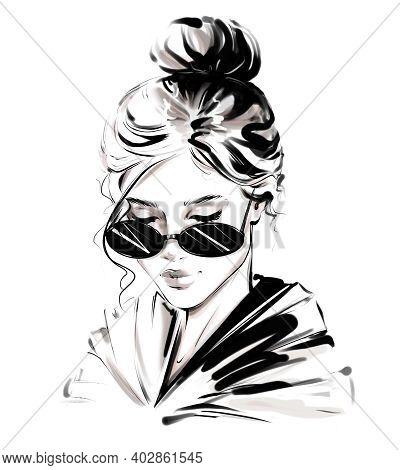 Beautiful Young Woman With Hair Bun. Pretty Woman. Stylish Girl. Fashion Illustration