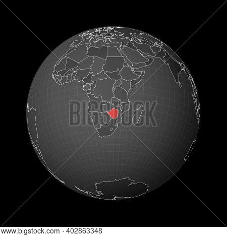 Dark Globe Centered To Zimbabwe. Country Highlighted With Red Color On World Map. Satellite World Pr