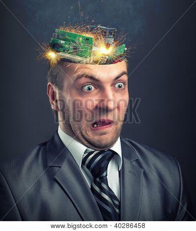 Short circuit in businessman computer brain