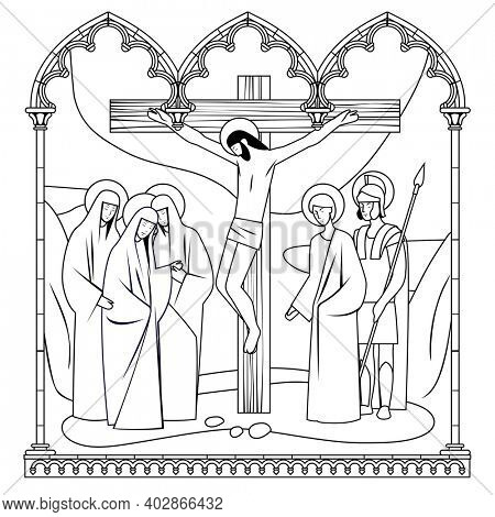 Scene of the Crucifixion of Christ in a classic Gothic frame. Linear drawing for a coloring book