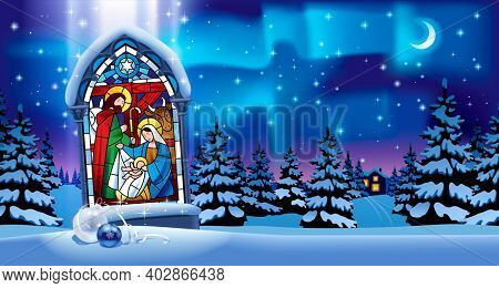 Illuminated stained glass window with Christmas scene in gothic frame against the night winter spruce forest in snow under starry sky