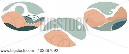 Set Of Various Abstract Landscapes. Mountains, Hills, Rivers, Landscape Backgrounds. Oval Badges. Cu