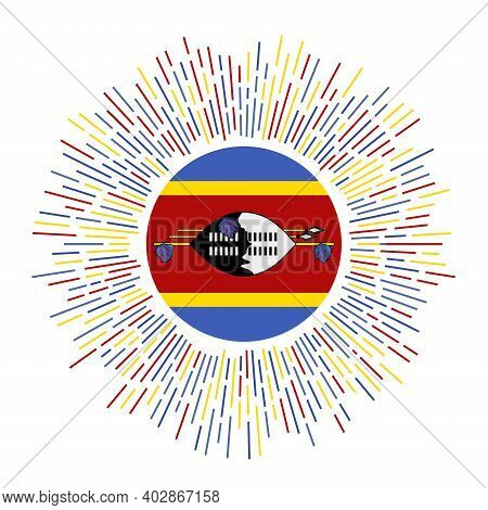 Eswatini Sign. Country Flag With Colorful Rays. Radiant Sunburst With Eswatini Flag. Vector Illustra