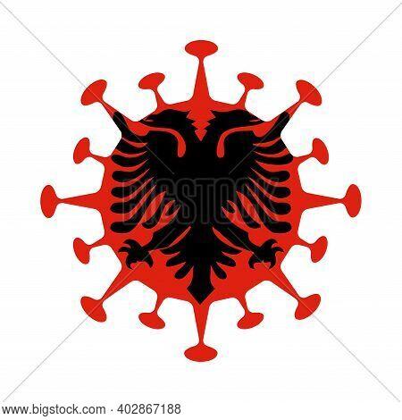 Flag Of Albania In Virus Shape. Country Sign. Vector Illustration.