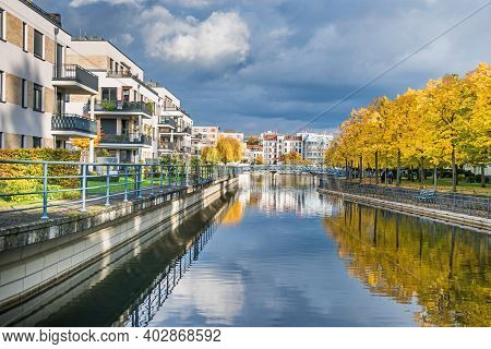 Berlin, Germany - October 24, 2020:  Harbor Basin Tegeler Hafen With Old And Modern Buildings,  Resi
