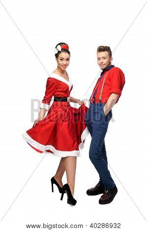 cheerful retro couple