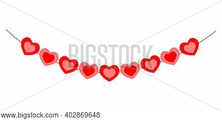 Heart Bunting Isolated On White Background. Garland For Valentine Day Party, Wedding, Romantic Date.