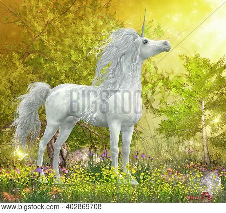 Unicorn Stallion In Meadow 3d Illustration - A White Unicorn Stallion Stands In A Meadow Full Of Yel