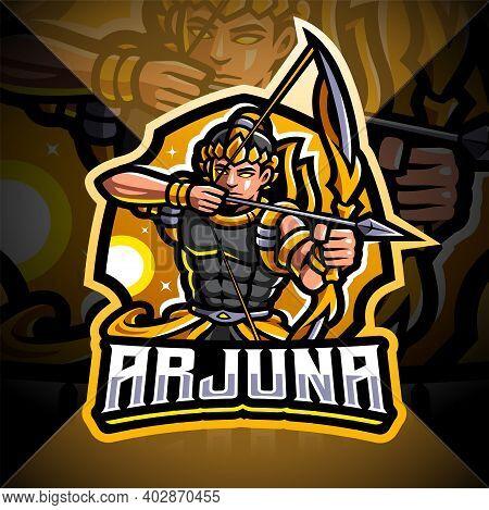 Arjuna Archer Esport Mascot Logo With Text