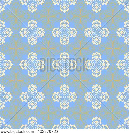 Seamless Background - Doily With Abstract Flowers In Turquoise Colors. Eps10 Vector, Swatch Included