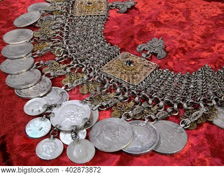 Old Silver Jewelry. Collection Of Antique Traditional Silver Jewelry