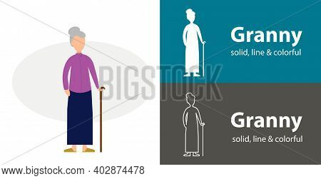 Granny Elder Womanisolated Vector Flat Icon. Silhouette Line Solid Design Element