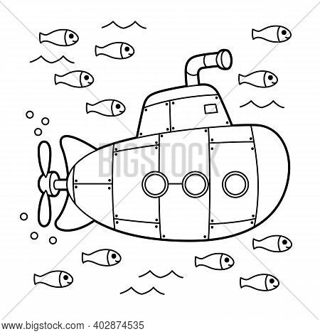 Cute And Funny Coloring Page Of A Submarine. Provides Hours Of Coloring Fun For Children. To Color T